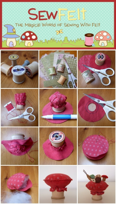 Montage image showing how to craft of sewing a mushroom toadstool pincushion step by step images