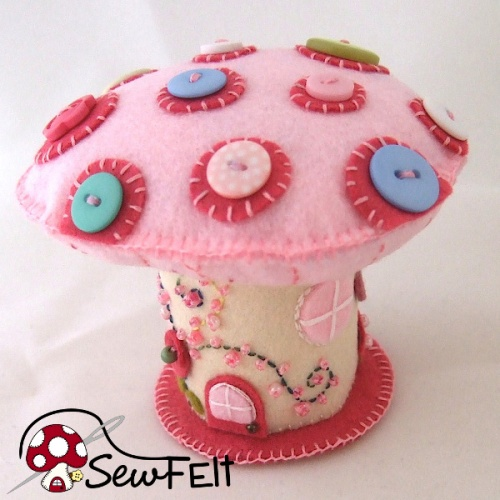 Cute pink mushroom toadstool fairy home plush plushie handmade handsewn