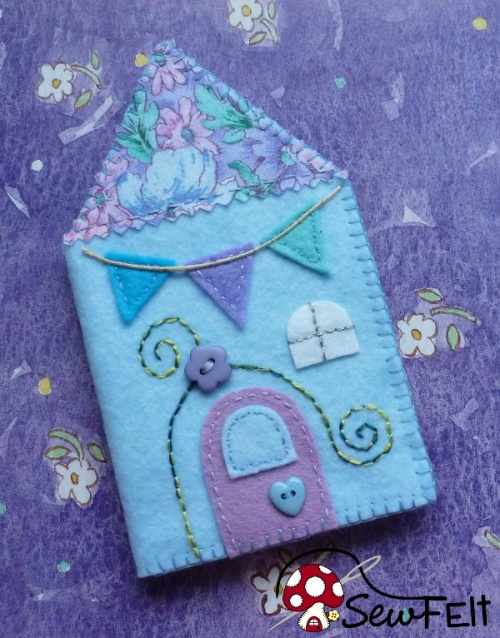 Simple and easy cute house design needlebook case holder instructions and step by step photo tutorial