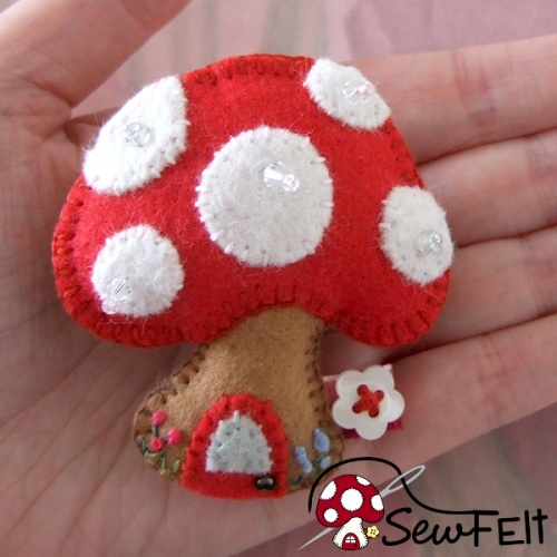 Red white and brown felt fabric miniature toadstool fairy home design ornament