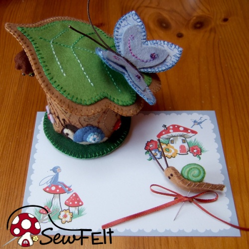 Snail and butterfly woodland tree stump felt plush custom pincushion design